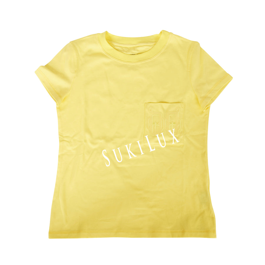 Embroidered pocket micro t-shirt -yellow