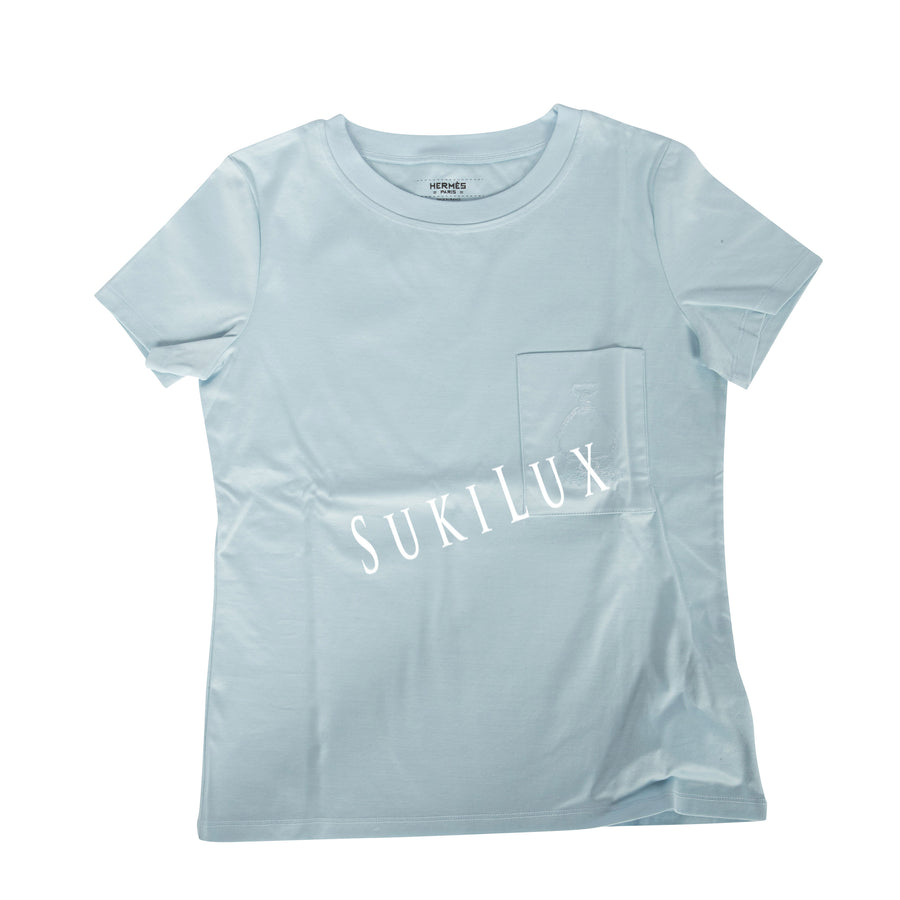 Embroidered pocket micro t-shirt -light blue
