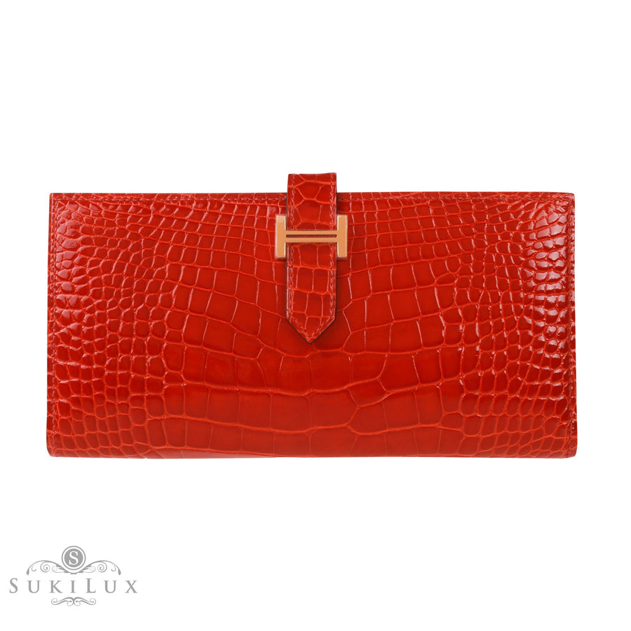 Hermès Bearn Wallet Sanguine 9M Alligator Gold Hardware