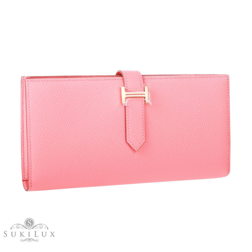Hermès Bearn Wallet Rose Confetti Pink 1Q Epsom Gold Hardware