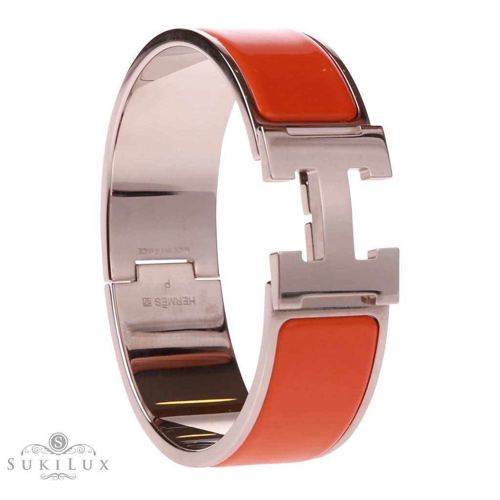 Hermès Clic Clac H Wide Enamel Bracelet Orange Palladium Hardware