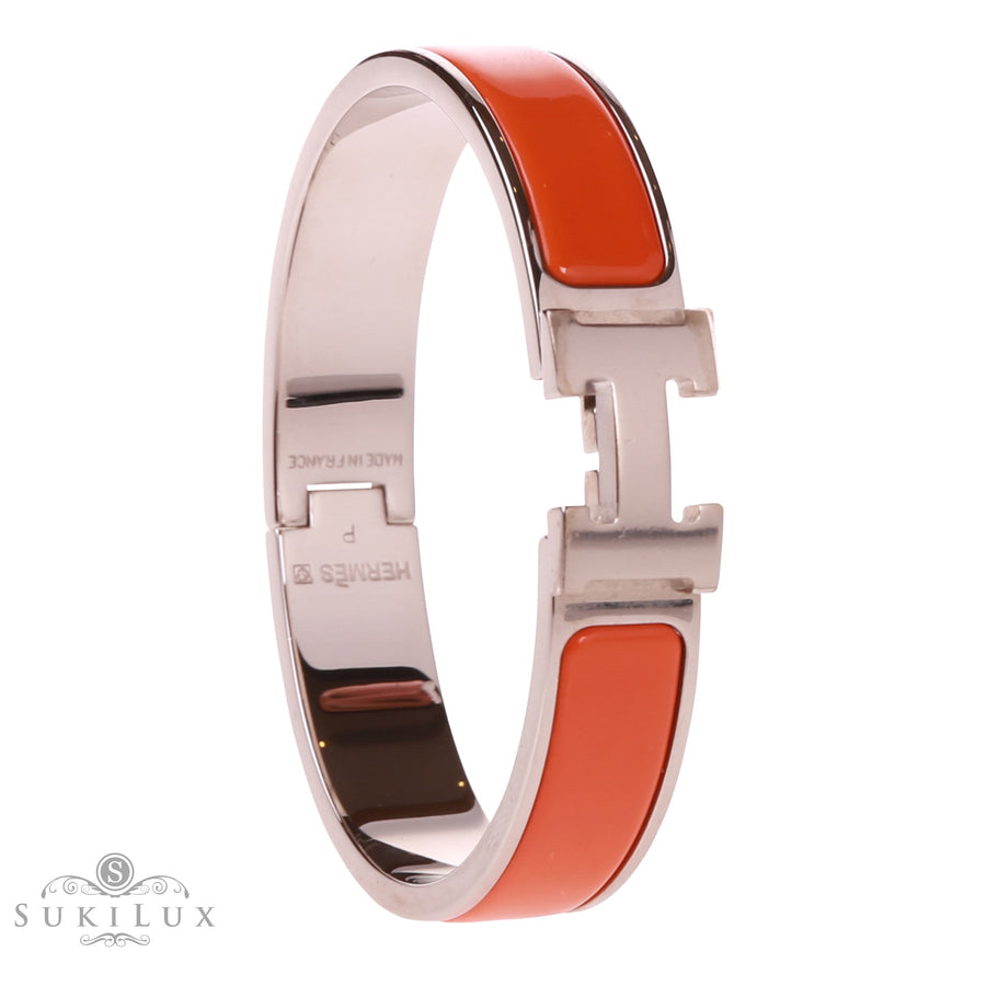 Hermès Clic Clac H Narrow Enamel Bracelet Orange Palladium Hardware