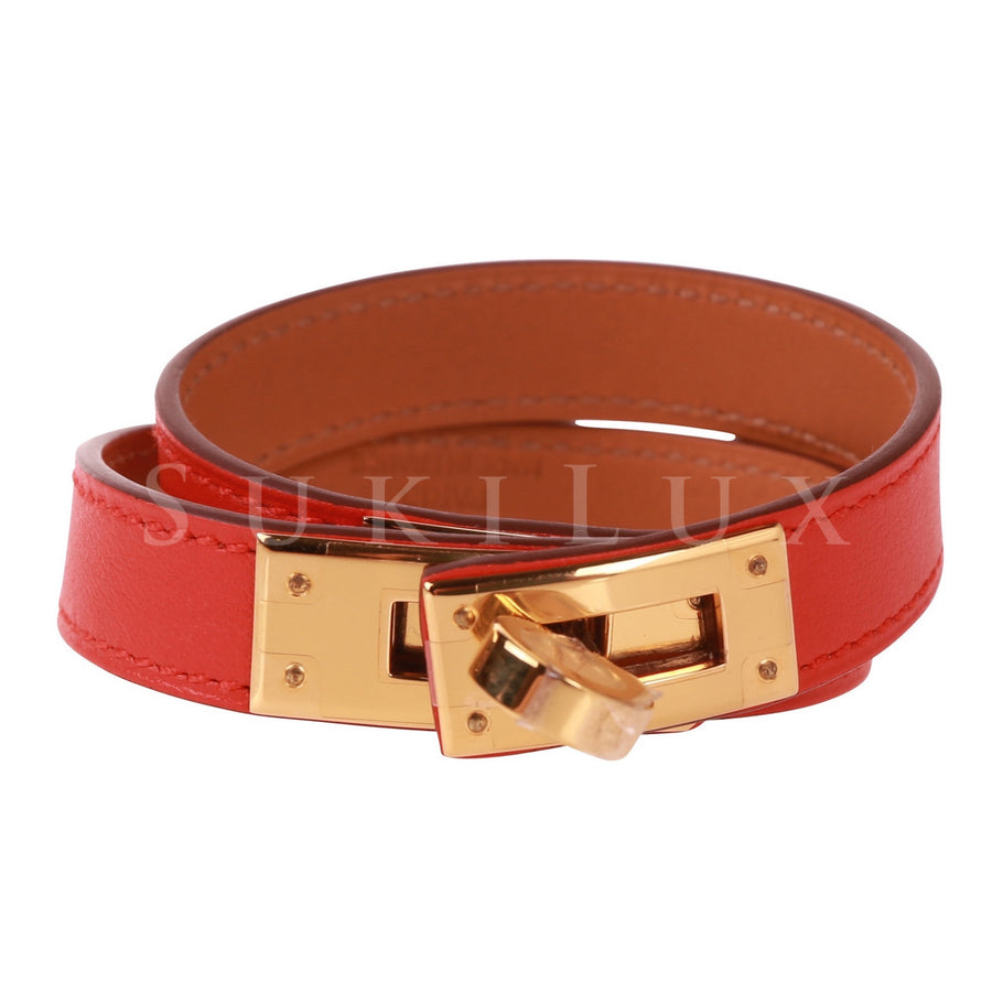 Hermès Kelly Double Tour Leather Bracelet Red Gold Hardware