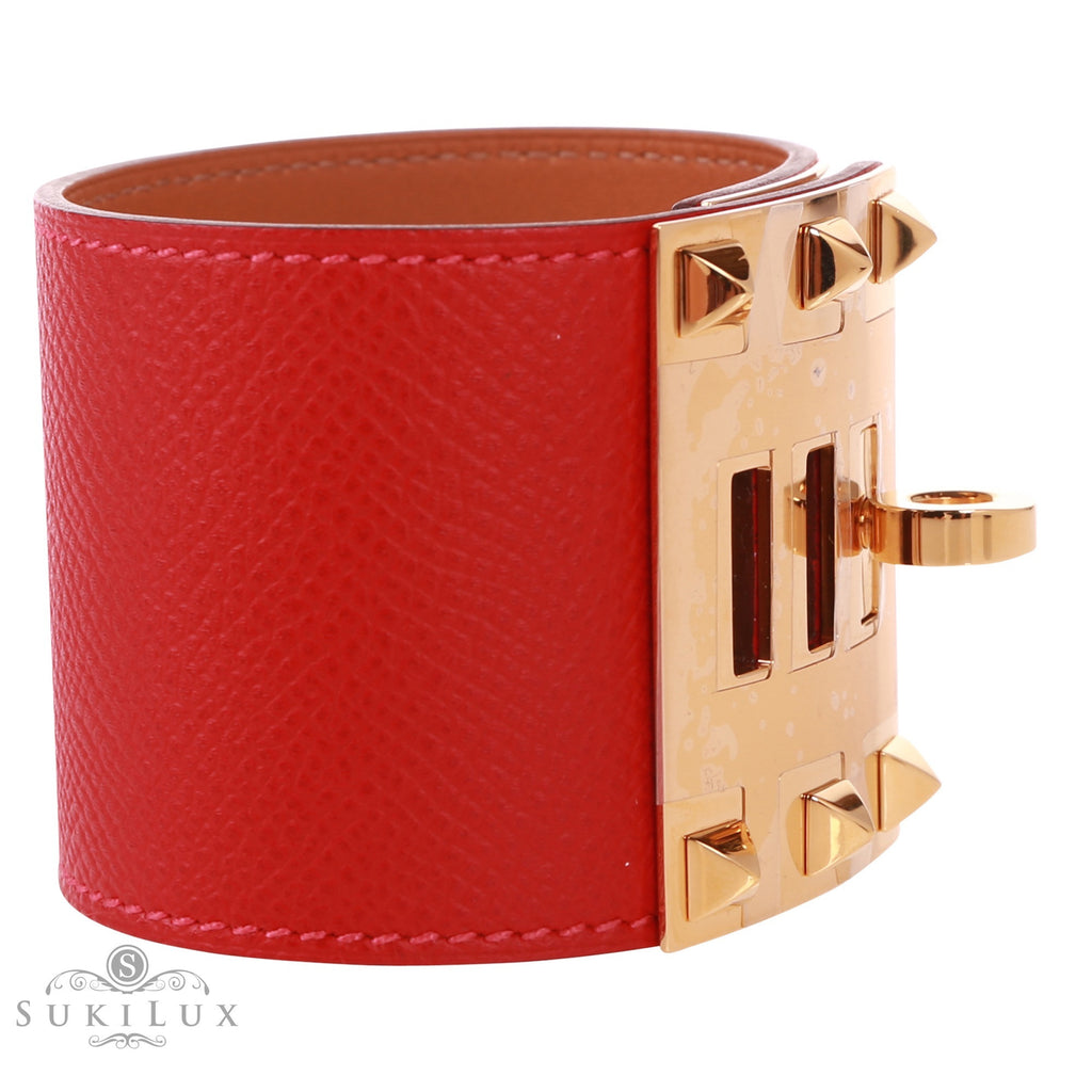 Hermès Kelly Belt Rouge Casaque Q5 Gold Plated Kelly Buckle Epsom Leather