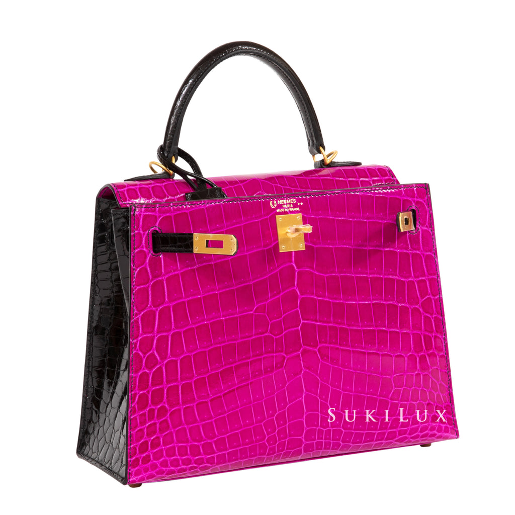 HERMÈS KELLY 25CM SELLIER CROCODILE SHINY NILO LISSE J5 ROSE/89 NOIR BI-COLOR GOLD HARDWARE