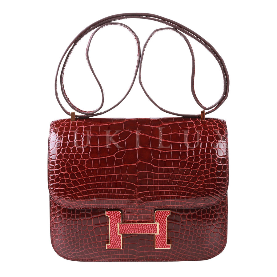 Hermès Constance III Mini 18cm Bordeaux Kawaii Collection Alligator Lizard Rouge H Gold Hardware