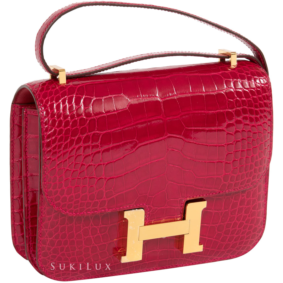 Hermès Constance III Mini 18cm Crocodile Alligator Missi Lisse 95 Braise Gold Hardware