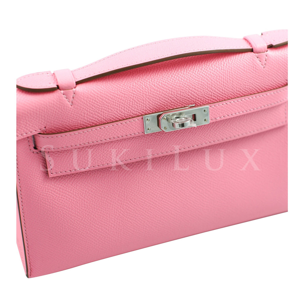 Hermès MiniKelly Pochette Rose Confettie 1Q Epsom Leather Palladium Hardware