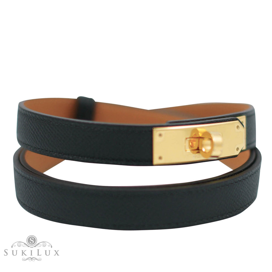Hermès Kelly Women's Belt Noir 89 Epsom Leather Gold Hardware