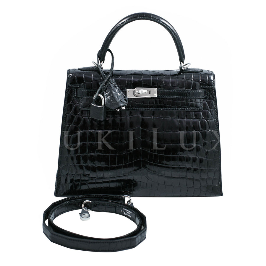 Hermès Kelly 25cm Sellier Crocodile Shiny Nilo Noir 89 Palladium Hardware