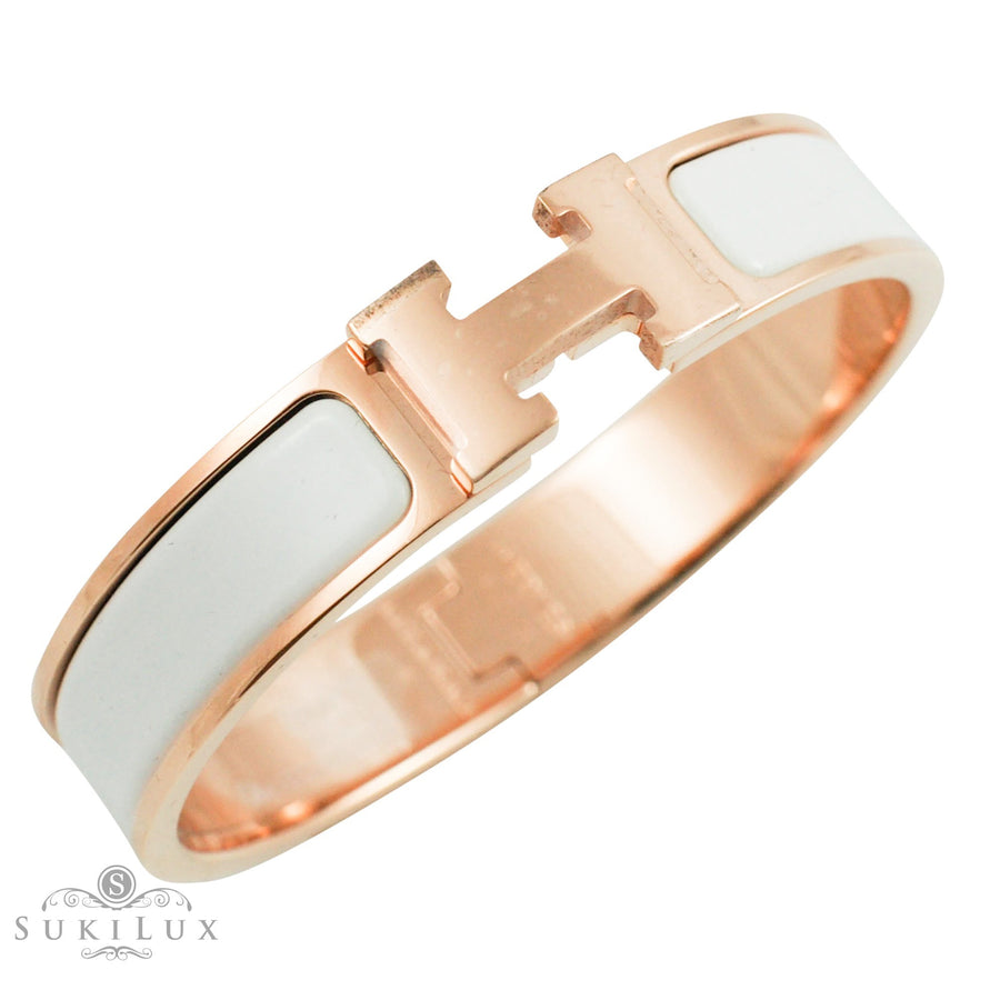 Hermès Clic Clac H Narrow Enamel Bracelet White Rose Gold Hardware