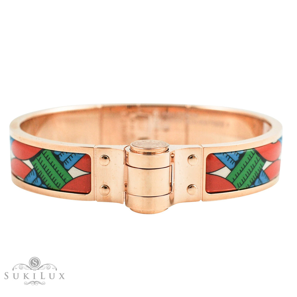 Hermès Hinged Enamel Bracelet Narrow Balades Equestres Folk Rose Gold Plated