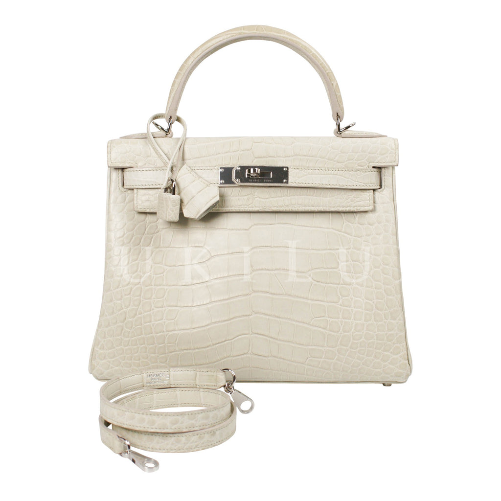 Hermès Kelly 28cm Retourne Crocodile Matte Alligator 8L Beton Palladium Hardware