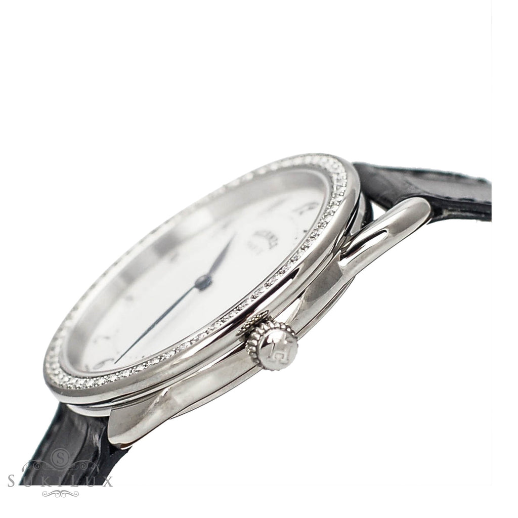 Hermès Arceau Diamond Bezel Watch GM - Stainless Steel/ Black Alligator Strap