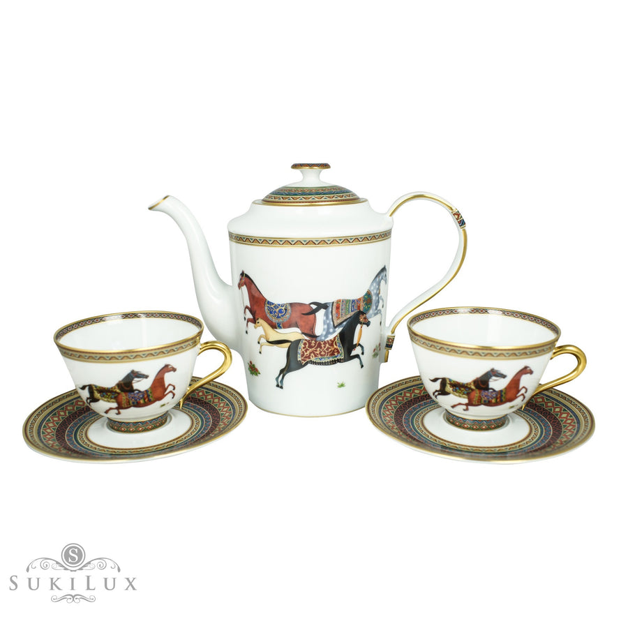 Hermès Cheval D'Orient Tea/ Coffee Pot and Cups Set