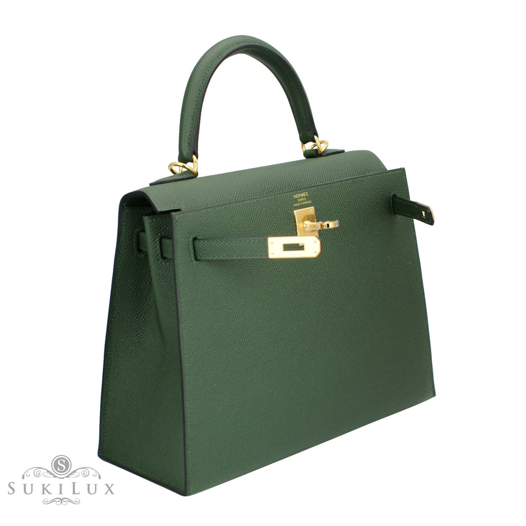 59f72b4ce38 ... best price hermès kelly 25cm sellier veau epsom 2q vert anglais gold  hardware 2697c fab2c