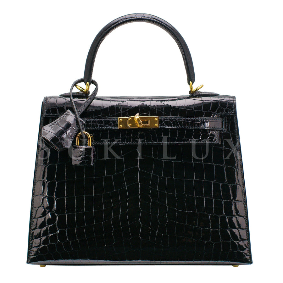 Hermès Kelly 25cm Sellier Crocodile Shiny Nilo Noir 89 Gold Hardware