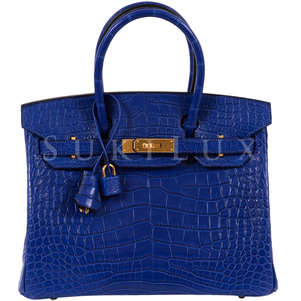 Hermès Birkin 30cm Crocodile Matte Alligator Bleu Electric 7T Gold Hardware