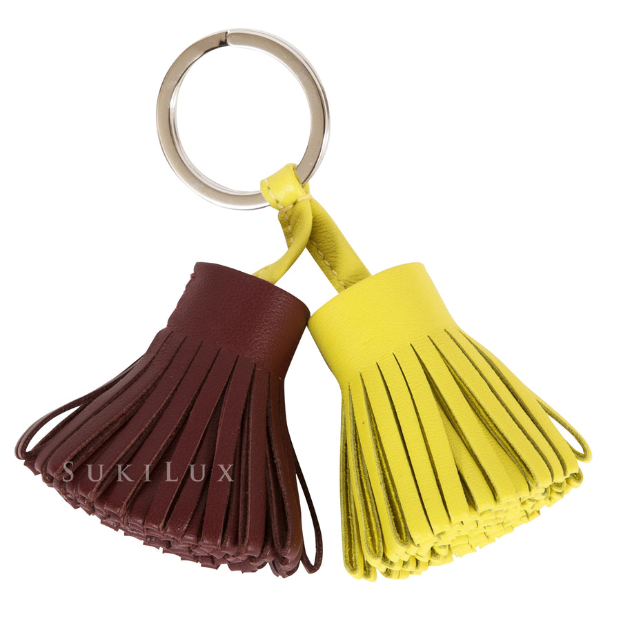 Hermès CARMEN UNO-DOS KEY CHAIN/ HOLDER/ RING LIME/ROUGE H