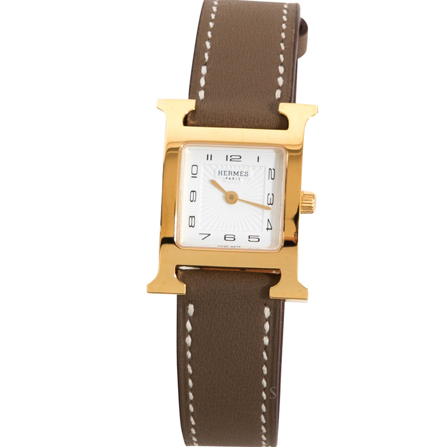 Hermès Heure H Watch PM Gold Plated Etoupe Epsom Leather Strap