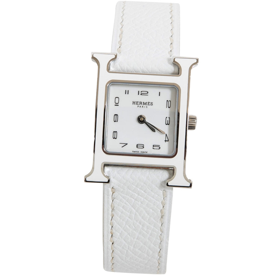 Hermès Heure H Watch PM White Enamel Epsom Leather Strap