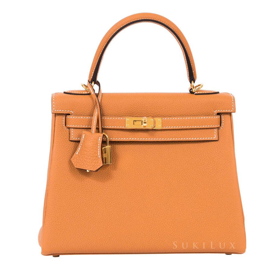 HERMÈS KELLY 25CM RETOURNE Toffee 1H TOGO LEATHER GOLD HARDWARE