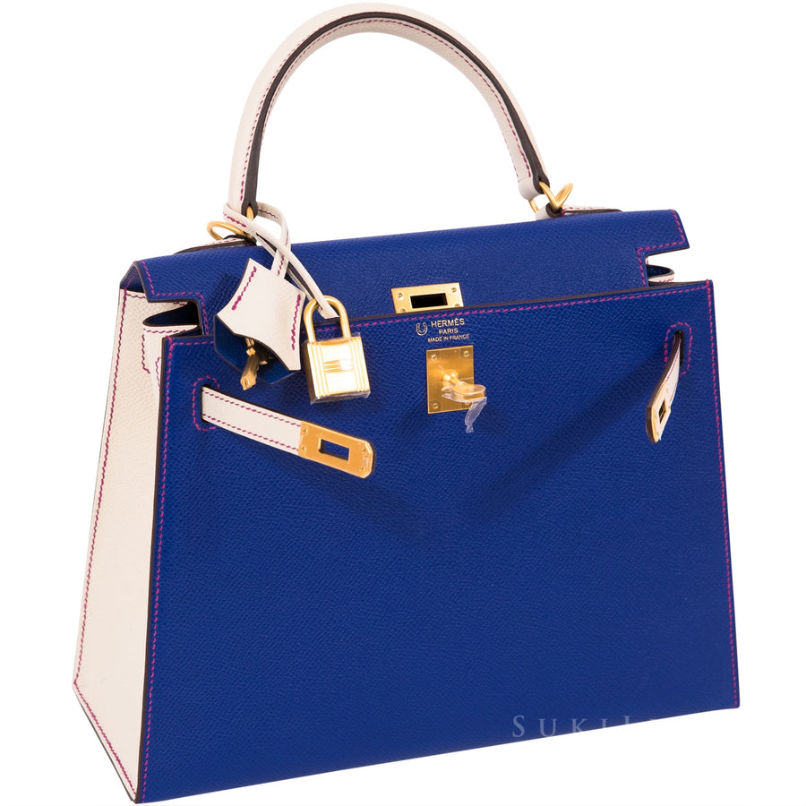 Hermès Kelly 25cm Sellier Veau Epsom 7T Bleu Electric/Craie 10 Bi-color Gold Hardware