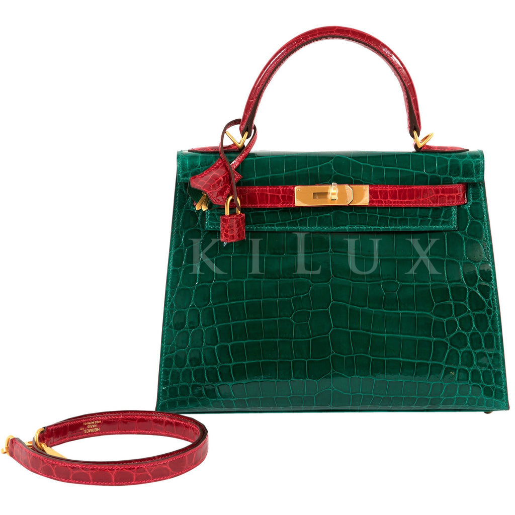 Hermès Kelly 28cm Sellier Crocodile Shiny Nilo Braise 95 Alligator Emeralde Green 6Q Bi-color Gold Hardware