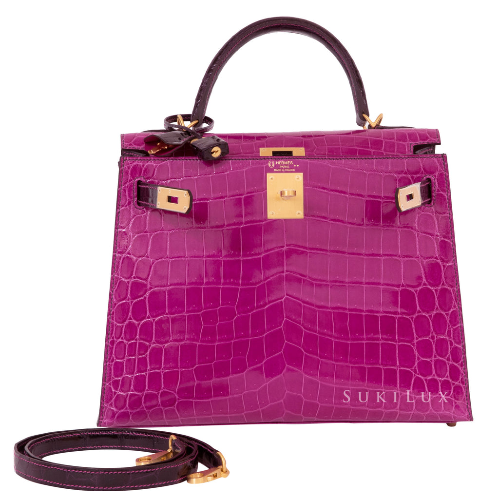 Hermès Kelly 28cm Sellier Crocodile Nilo J5 Rose Sheherazade/95 Bourgogne Gold Hardware