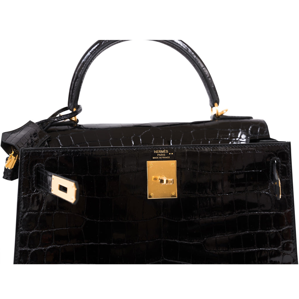 HERMÈS KELLY 28CM SELLIER Noir 89 SHINNY NILO CROCODILE GOLD HARDWARE