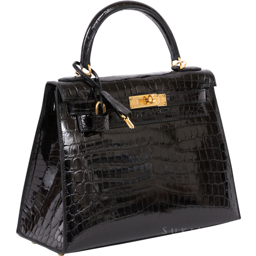 Hermès Kelly 28cm Sellier Crocodile Shiny Nilo Noir 89 Gold Hardware
