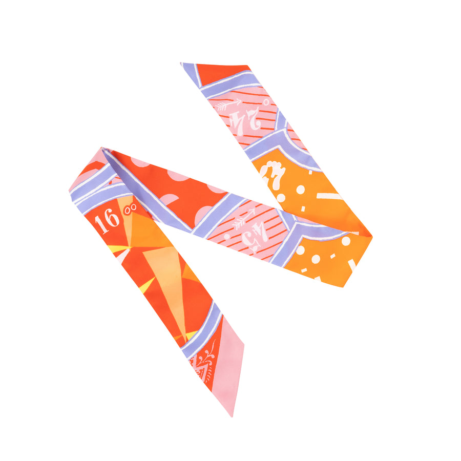 HERMÈS SILK TWILLY SCARF JEU DE UNIFORME YU/VIEUX ROSE/ORANGE