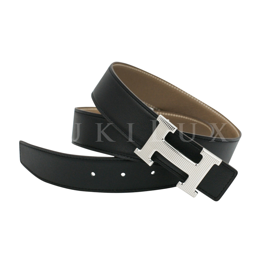 Hermès 32mm Reversible Constance H Belt Calandre Etoupe/ Black Palladium Buckle