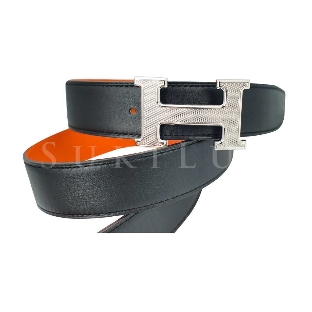Hermès 32mm Reversible Constance H Belt Guillochee Black/Orange Palladium Buckle