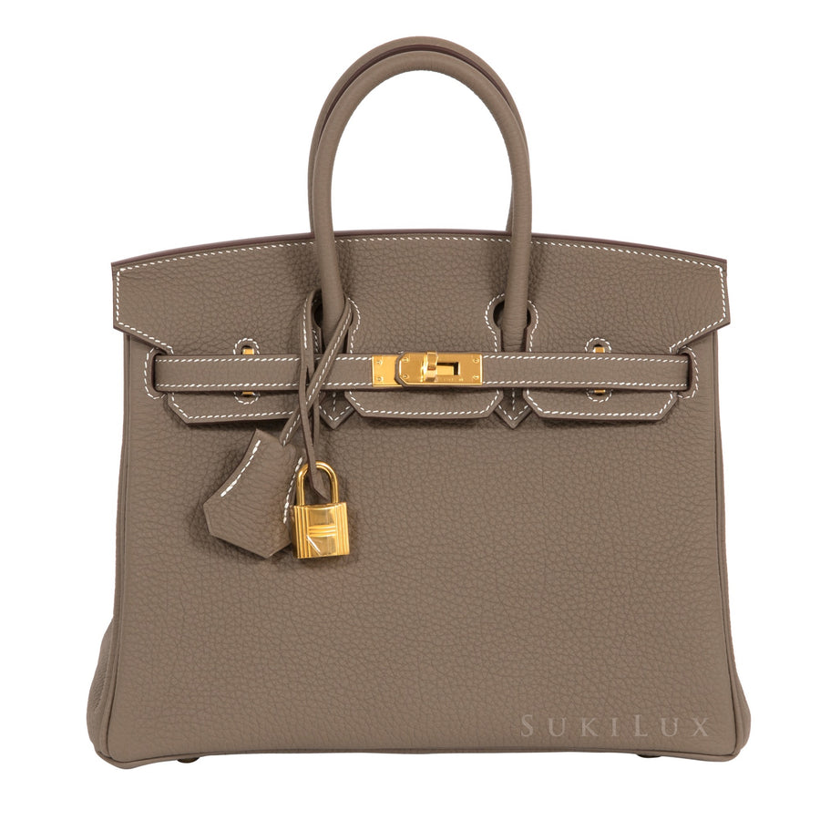 Hermès Birkin 25cm Etoupe 18 Togo Leather Gold Hardware