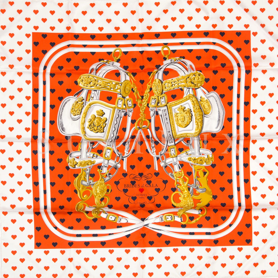 Hermès Carre Twill 90cm Silk Scarf Brides De Gala Love Orange/ Marine/ Blanc