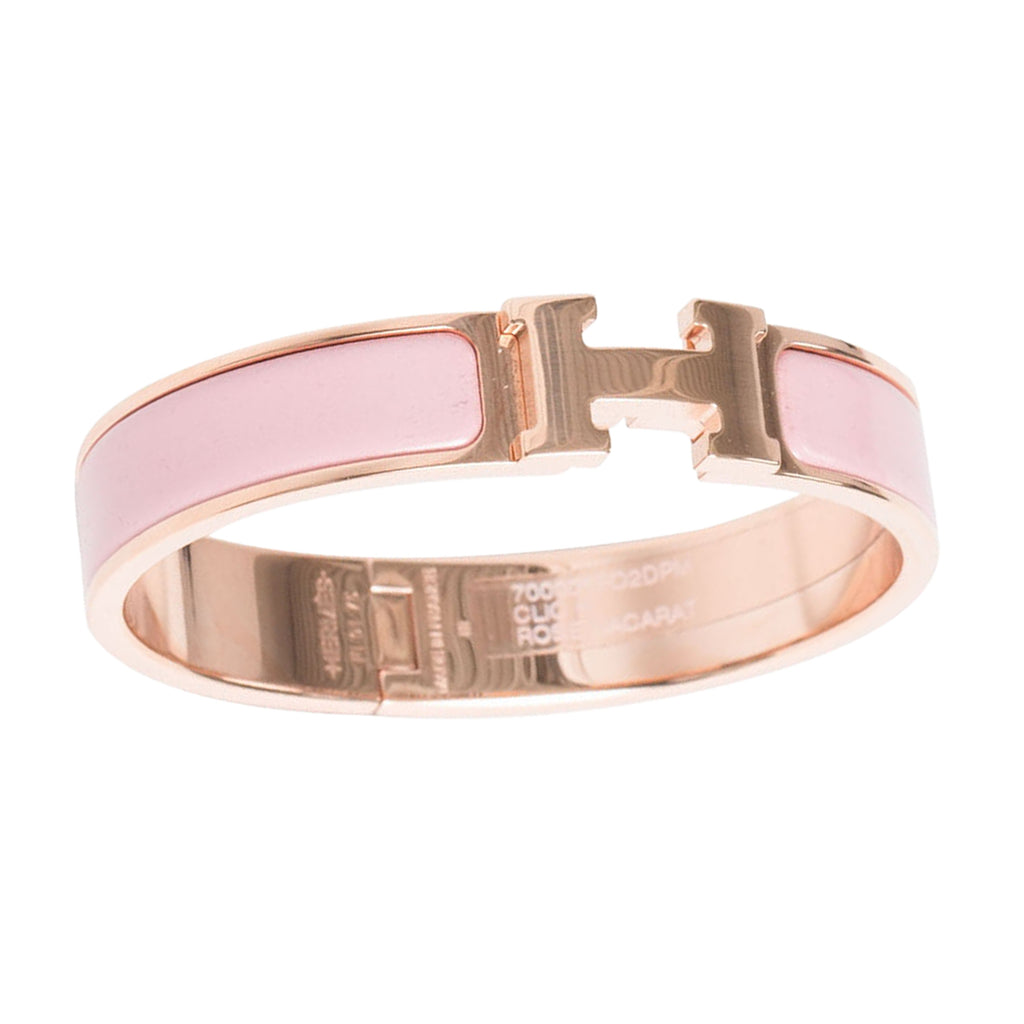 Hermès Clic Clac H Narrow Rose Dragee Enamel Bracelet Rose Gold Hardware