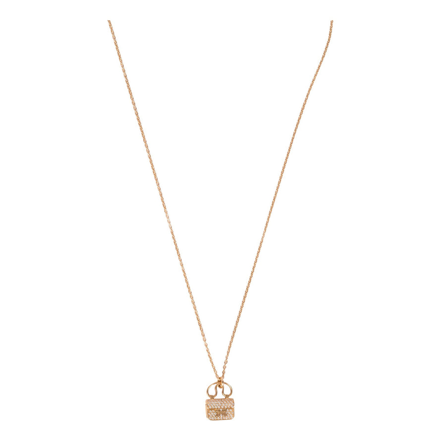 Hermès Constance Rose Gold Pendant Necklace with Diamonds