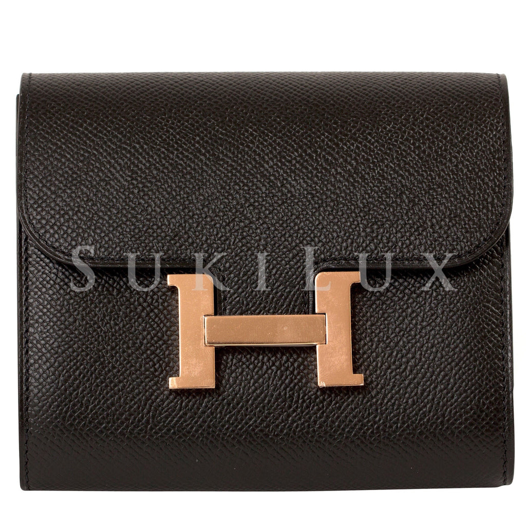 Hermès Constance Compact Wallet Black Rose Gold Hardware