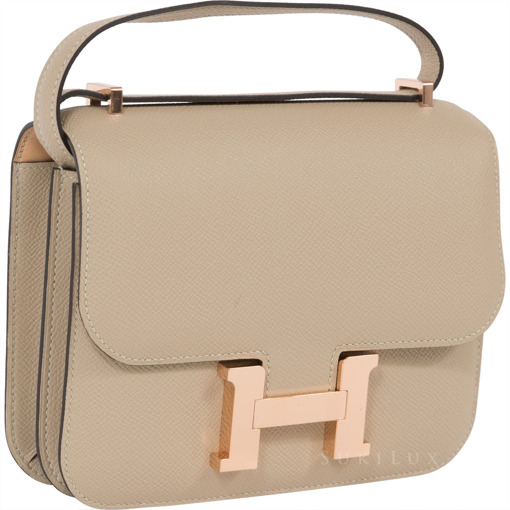 7dbd340574e45 ... where to buy hermès constance mini 18cm veau epsom s2 trench natural bi color  rosegold hardware