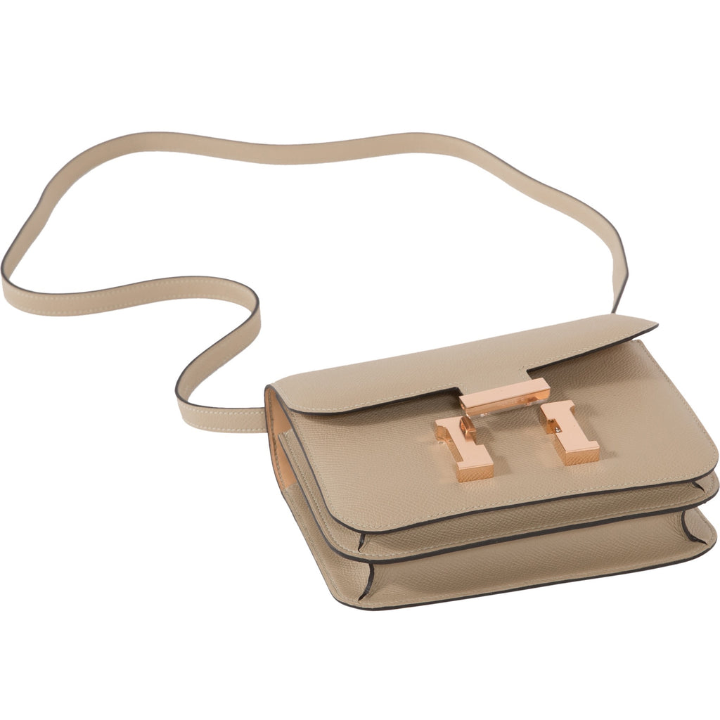 Hermès Constance III Mini 18cm Veau Epsom S2 Trench/ Natural Bi-Color Rosegold Hardware