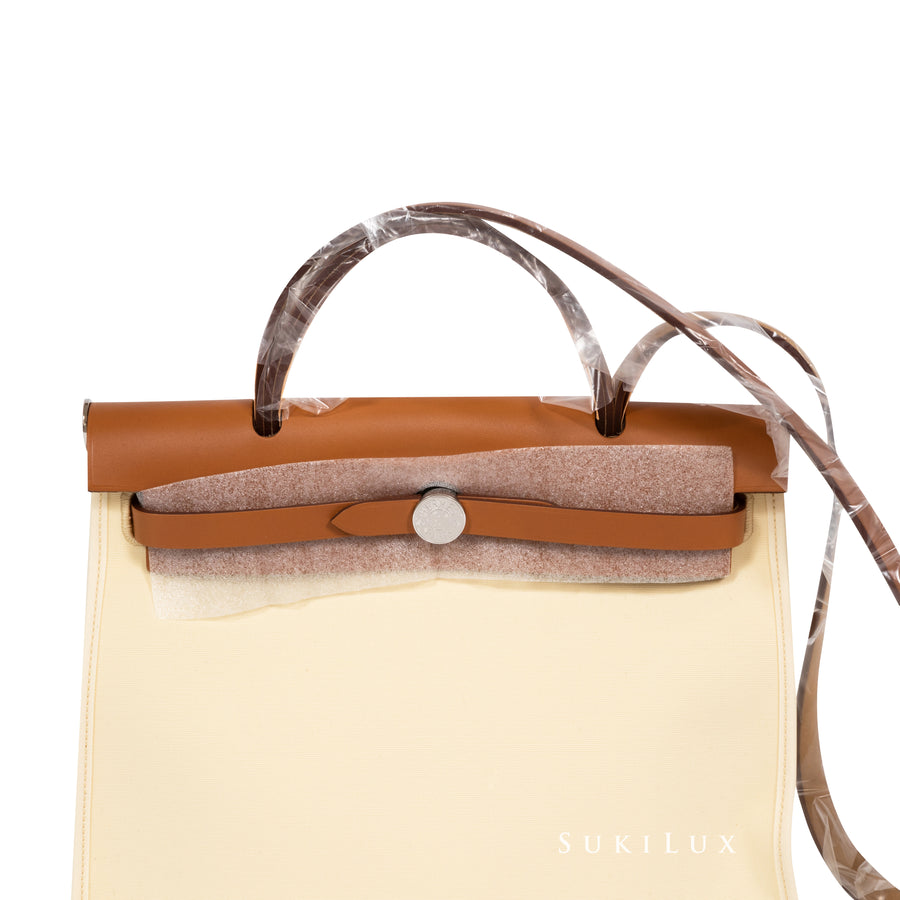 Hermès Herbag 31cm Vanille/ Nature Canvas