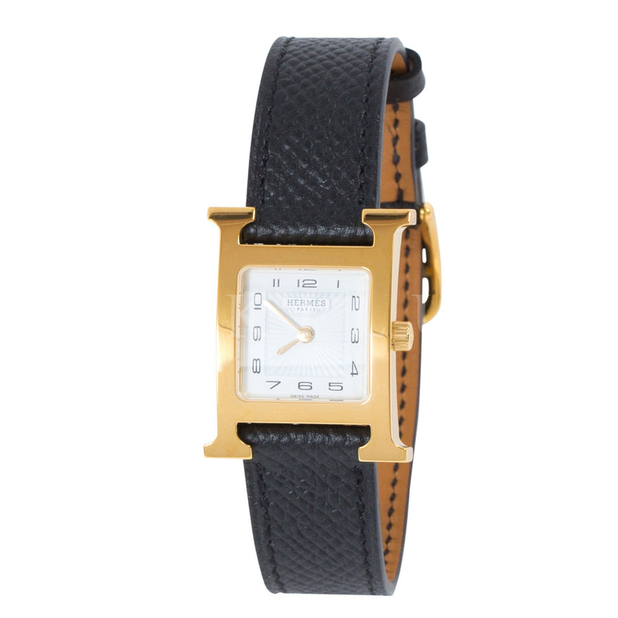 Hermès Heure H Watch PM Gold Plated Black Epsom Strap