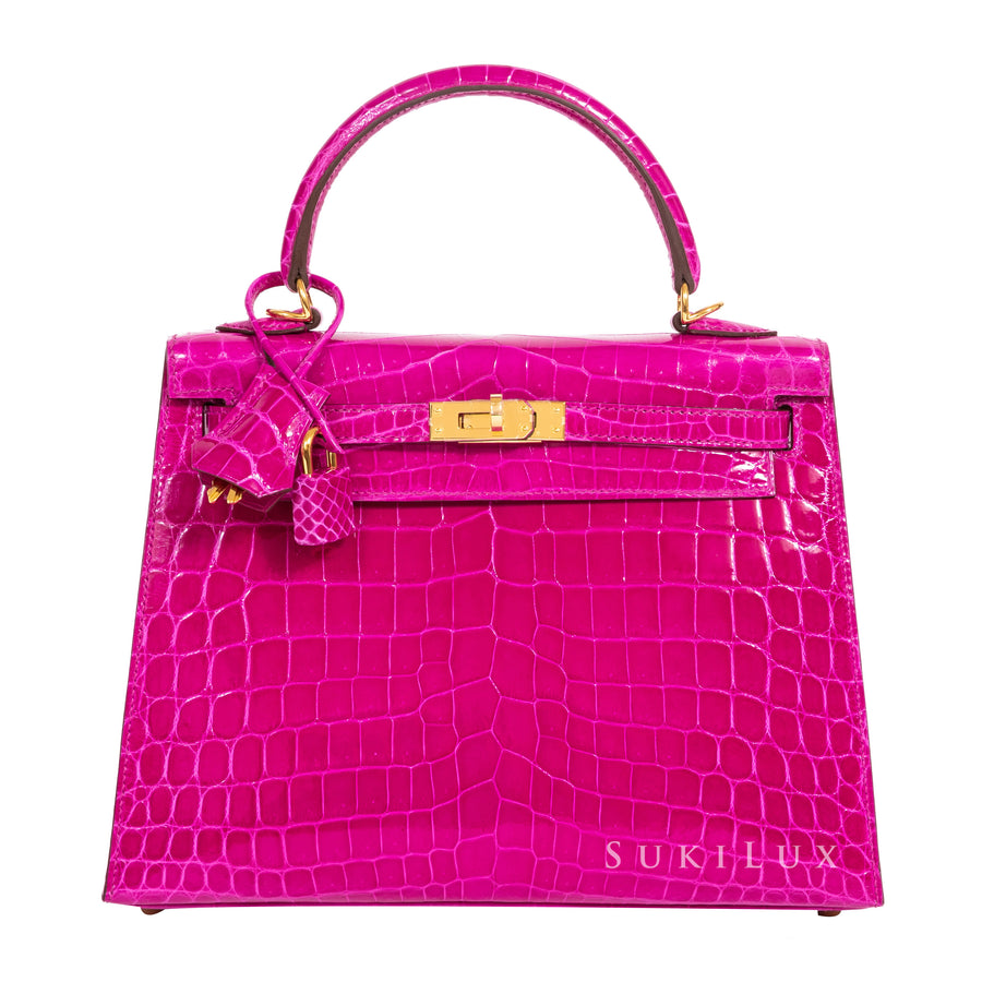 Hermès Kelly 25cm Sellie Crocodile Niloticus J5 Rose Sheherazade Gold Hardware