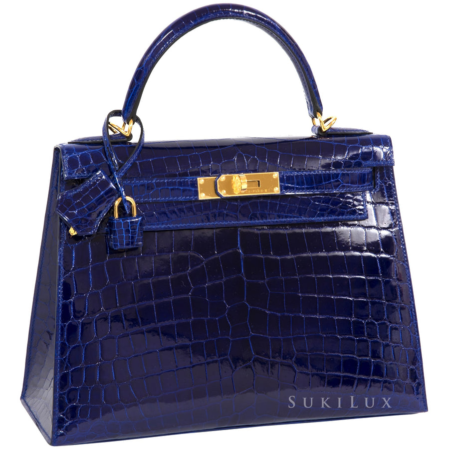 Hermès Kelly 25cm Sellier Crocodile Alligator Mississippiensis Lisse 7T Bleu Electric Gold Hardware