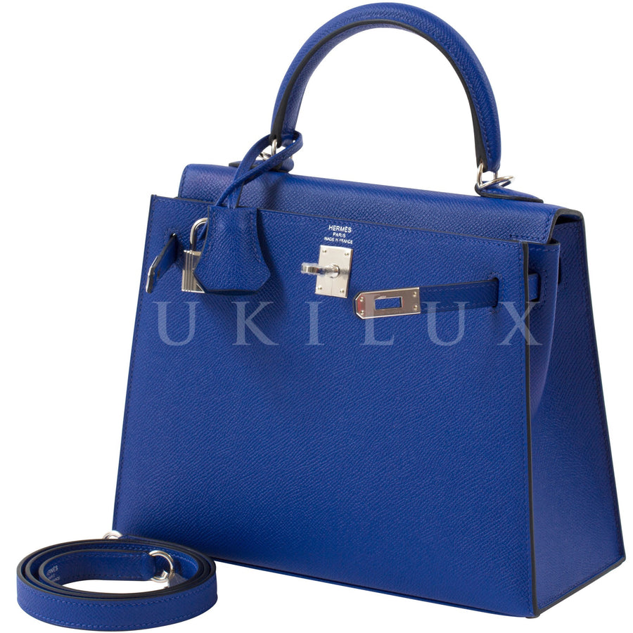 Hermès Kelly 25cm Sellier Veau Epsom Bleu Electric 7T Palladium Hardware