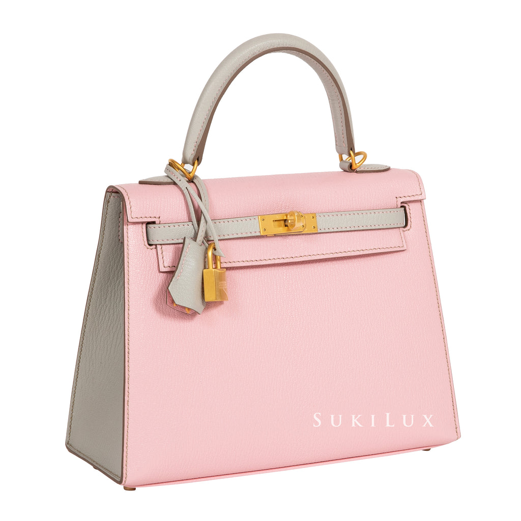 Hermès Kelly 25cm Sellier Chevre GoatSkin 5P Rose Sakura / 80 Gris Perie Bi-color Gold Hardware