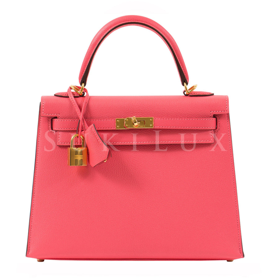 Hermès Kelly 25cm Sellier Chevre Goatskin U5 Rose Lipstick Gold Hardware