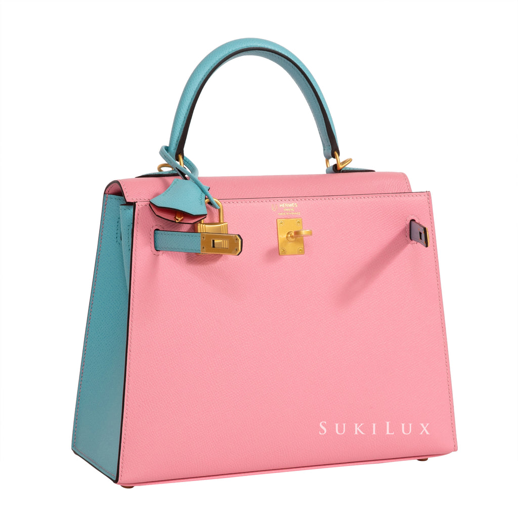 Hermès Kelly 25cm Sellier Veau Epsom 1Q Rose Confetti/ 3P Blue Atoll Bi-Color Gold Hardware