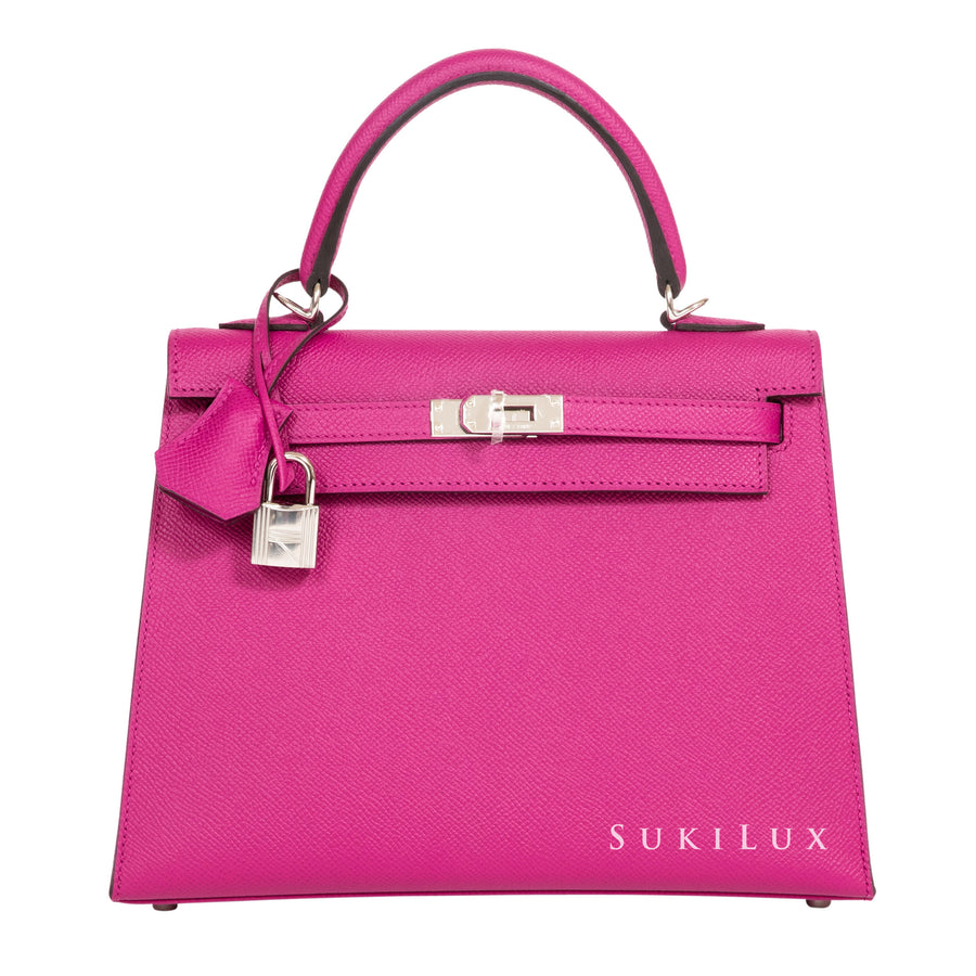 Hermès Kelly 25cm Sellier Veau Epsom L3 Rose Pourpre Palladium Hardware